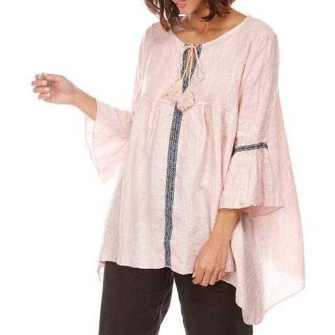 LE MONDE DU LIN Pink Patterned Strip Linen Top