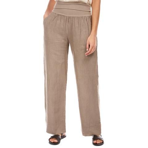 LE MONDE DU LIN Taupe Wide Linen Trousers