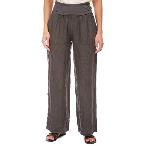 LE MONDE DU LIN Warm Grey Wide Linen Trousers