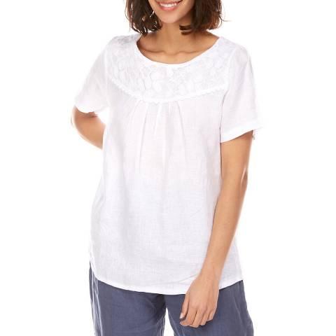 Toutes belles en LIN White Embroidered Linen T-Shirt