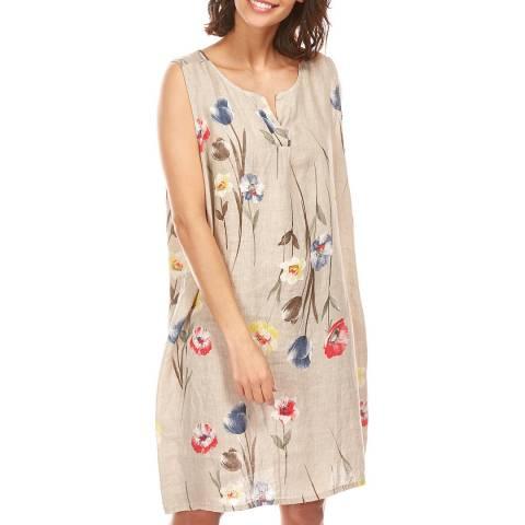 Toutes belles en LIN Beige Floral Balloon Linen Dress