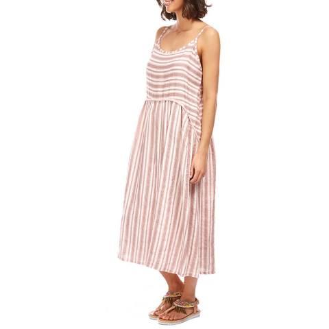 Toutes belles en LIN Pink Contrast Stripe Linen Dress