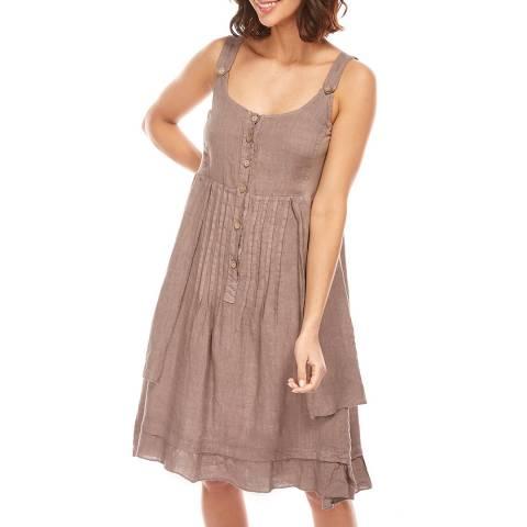 Toutes belles en LIN Taupe Double Layer Linen Dress