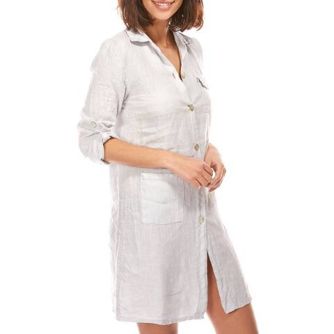 LE MONDE DU LIN Grey Short Linen Shirt Dress