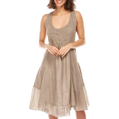 LE MONDE DU LIN Taupe Sheer Hem Linen Dress