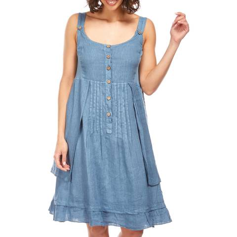 Toutes belles en LIN Indigo Double Layer Linen Dress