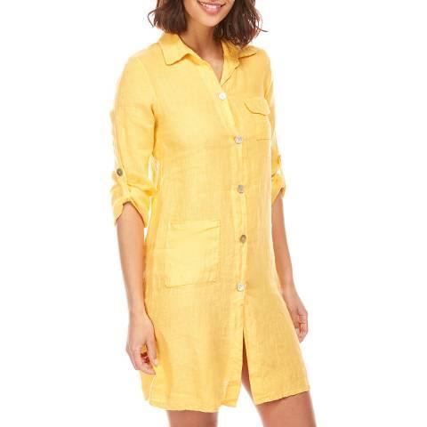 Toutes belles en LIN Yellow Short Linen Shirt Dress