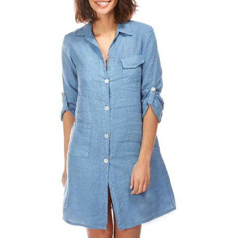 LE MONDE DU LIN Indigo Short Linen Shirt Dress