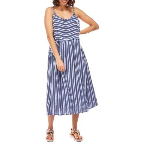 Toutes belles en LIN Navy Contrast Stripe Linen Dress