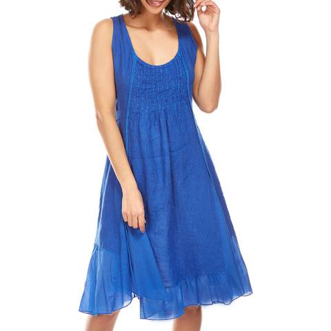 LE MONDE DU LIN Royal Blue Sheer Hem Linen Dress