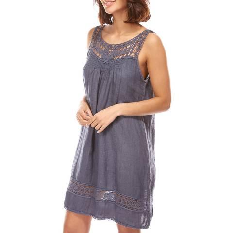 Toutes belles en LIN Navy Embroidered Sleeveless Linen Dress