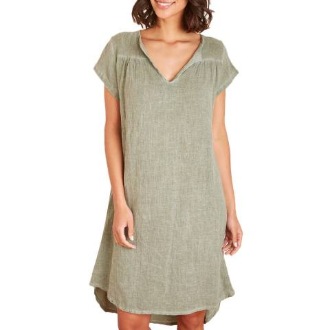 Toutes belles en LIN Khaki V Neck Linen Tunic