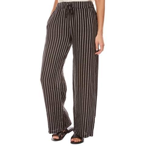 LE MONDE DU LIN Black Stripe Wide Linen Trousers