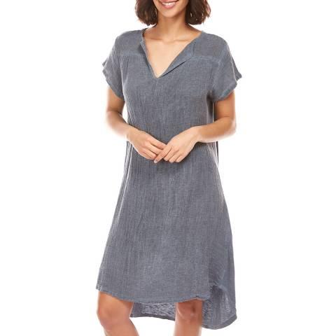 LE MONDE DU LIN Grey V Neck Linen Tunic