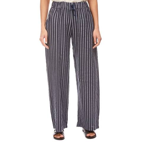 LE MONDE DU LIN Navy Stripe Wide Linen Trousers