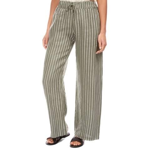 LE MONDE DU LIN Khaki/White Stripe Wide Linen Trousers