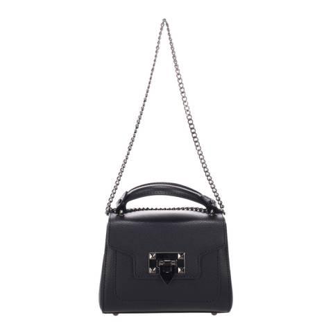 Lisa Minardi Black Leather Top Handle Chain Bag