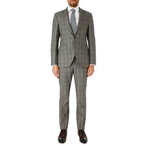 Hackett London Grey Check Tailored Wool Suit