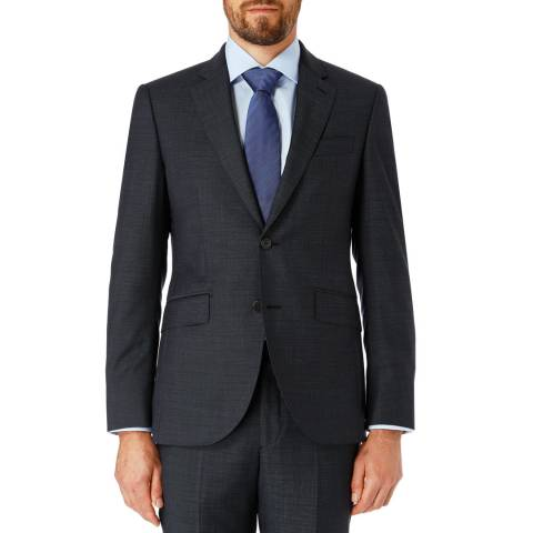 Hackett London Navy Pinpoint Slim Wool Suit Jacket
