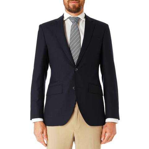Hackett London Navy Pow Slim Wool Suit Jacket