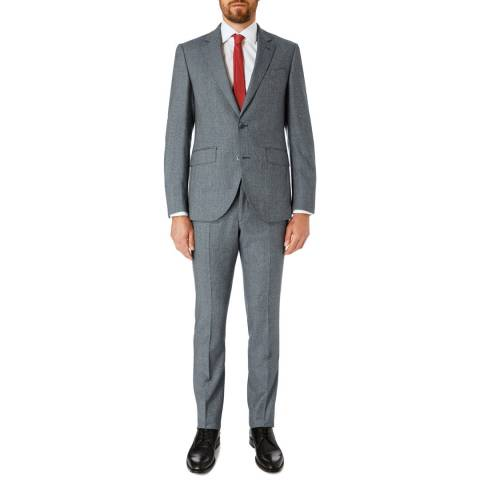 Hackett London Grey Brushed Tailored Wool Suit