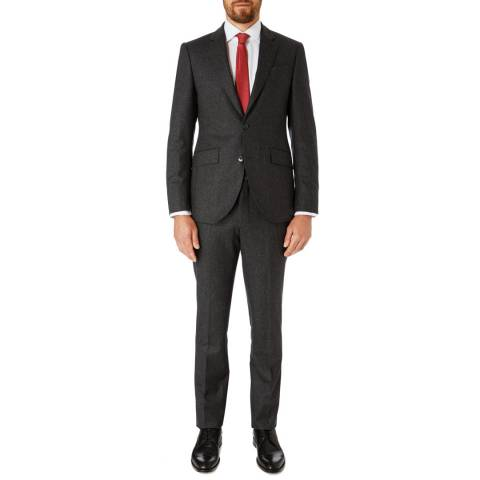 Hackett London Dark Grey Flannel Tailored Wool Suit