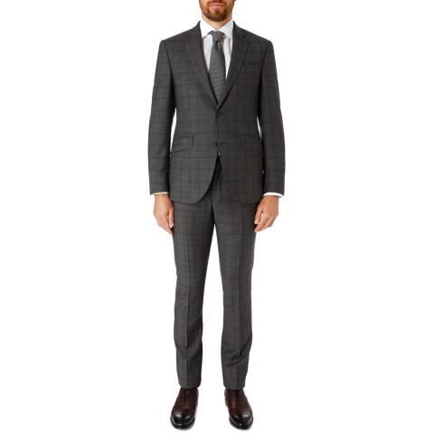 Hackett London Grey/Blue Tonal Check Tailored Wool Suit