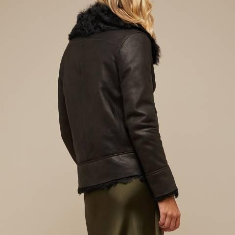 N°· Eleven Black Shearling Biker Jacket