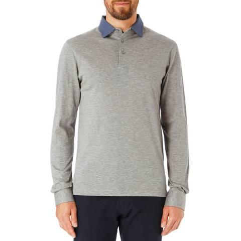 Hackett London Light Grey Slim Cotton Polo Shirt