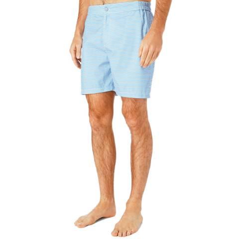 Hackett London Blue Stripe Waves Swim Shorts