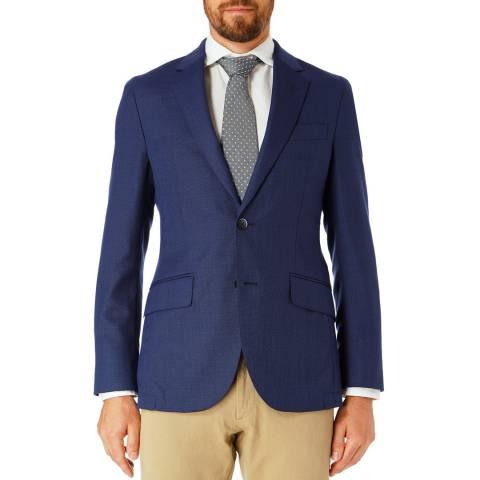 Hackett London Blue Basketweave Wool Suit Jacket