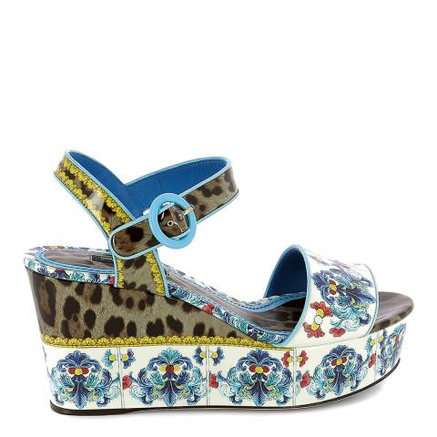 Dolce & Gabbana Multicolour Leather Patterned Wedge Sandals