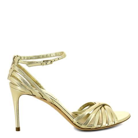 Casadei Gold Metallic Leather Strappy Stiletto Heels
