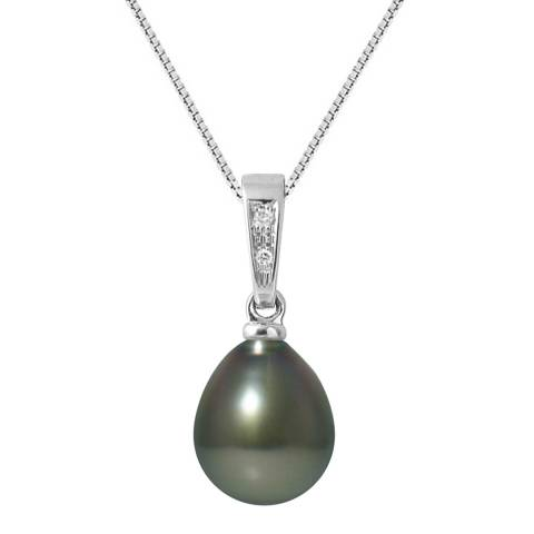 Ateliers Saint Germain White Gold Diamond Pear Pearl Pendant 9-10mm