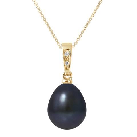Ateliers Saint Germain Yellow Gold Black Pear Pearl Diamond Pendant 9-10mm