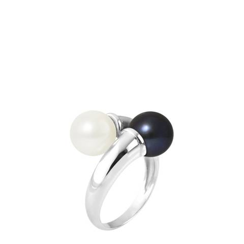 Ateliers Saint Germain Black/White YOU & ME Round Pearl Ring 8-9mm