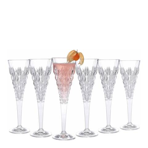 RCR Crystal Set of 6 Enigma Luxion Crystal Glass Champagne Flutes, 210ml