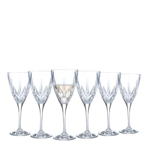 RCR Crystal Set of 6 Chic Luxion Crystal White Wine Glasses, 280ml