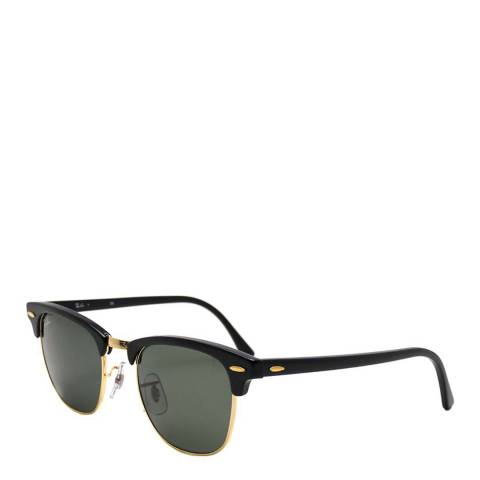 Ray-Ban Womens Black/Gold Clubmaster Sunglasses 49mm