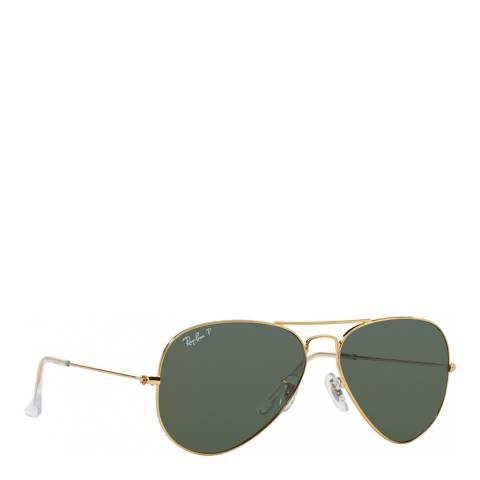 Ray-Ban Womens Gold/Green Ray-Ban Aviator Sunglasses 58mm