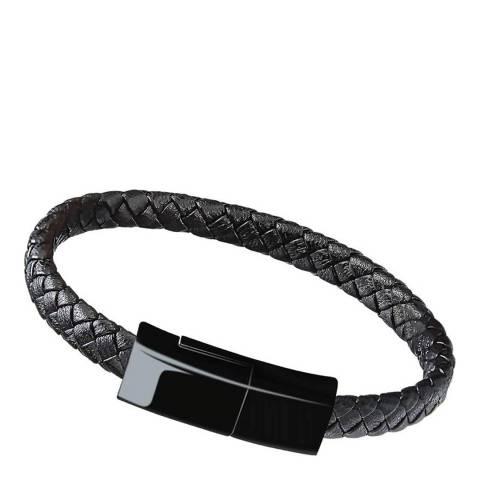 Stephen Oliver Black Plated Charging Cable Leather Bracelet