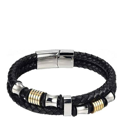 Stephen Oliver 18K Gold / Silver Plated Two Tone Leather Bracelet