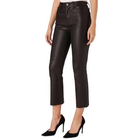 Current Elliott Black High Waisted Leather Kick Jean
