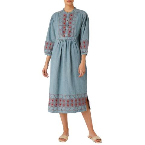 Current Elliott  Blue/Red Embroidered Dress