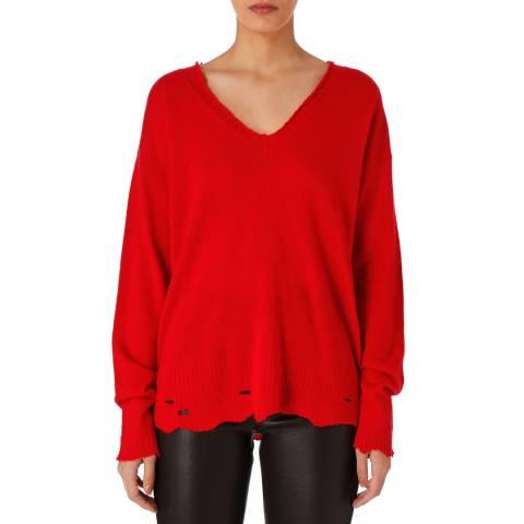 Current Elliott Red Destroyed Cashmere Sweater