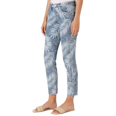 Current Elliott Blue Stiletto Palm Print Jean