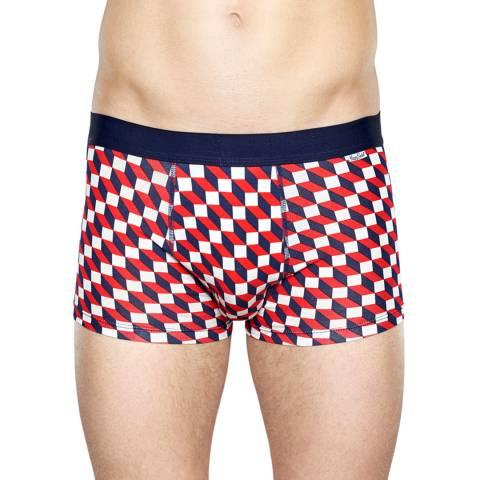 Happy Socks Navy/Red Print Trunks