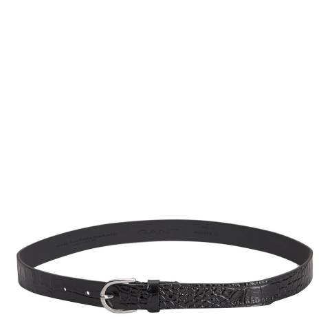 Gant Black Leather Embossed Belt