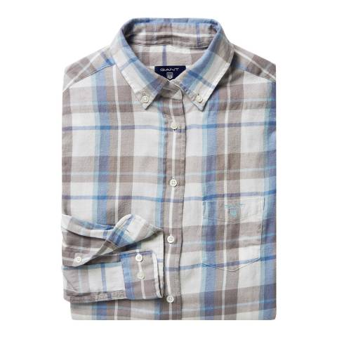 Gant Blue Cotton Flannel Check Shirt