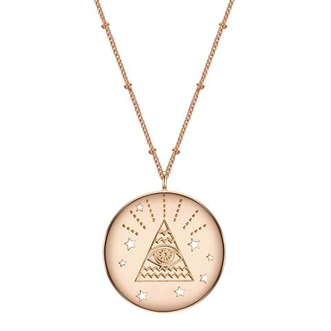 Clara Copenhagen Rose Gold All Seeing Eye Pendant Necklace